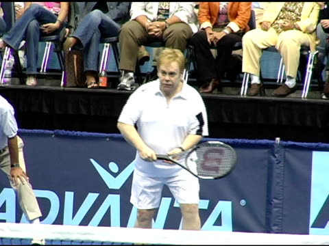 sir elton john at the 12th annual world team tennis smash hits benefiting the elton john aids foundation at bren events center in irvine california... - irvine california stock videos & royalty-free footage