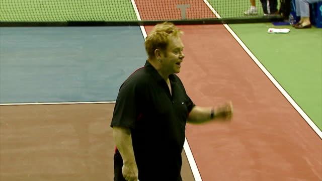 sir elton john at the advanta presents wtt smash hits celebrity tennis tournament at bren center university of irvine in irvine, california on... - irvine video stock e b–roll