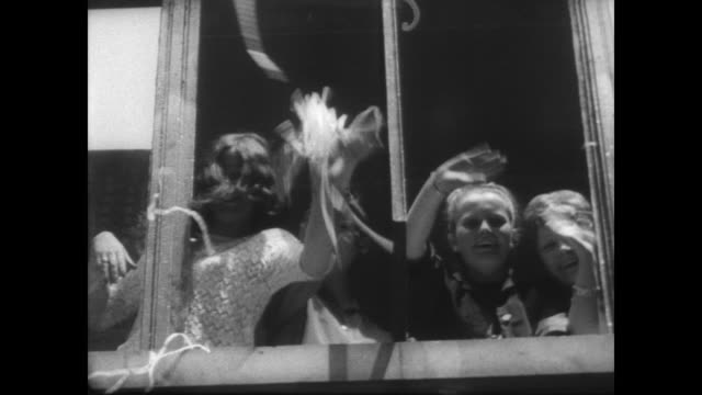 sir francis charles chichester steps off his boat gypsy moth 4 and is greeted by a waiting crowd / chichester rides through london streets as crowd... - francis chichester stock videos & royalty-free footage