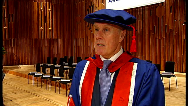 Sir Geoff Hurst receives honorary degree from University of East London interview and photocall Sir Geoff Hurst interview SOT Had first job interview...