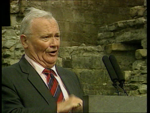 tributes lib secombe singing during open air service prince charles the prince of wales sitting listening secombe standing at podium joking laughing - harry secombe stock videos and b-roll footage
