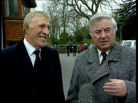sir harry secombe funeral ms jimmy tarbuck and bruce forsyth leaving church pan jimmy tarbuck interview sot you expected a raspberry to come out of... - harry secombe stock videos and b-roll footage