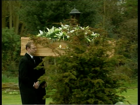 sir harry secombe funeral ms pallbearers carrying coffin pull pan lbv coffin along to church - harry secombe stock videos & royalty-free footage