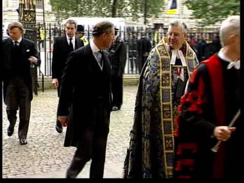sir harry secombe memorial service itn london westminster abbey prince charles the prince of wales along past into abbey as arriving for sir harry... - harry secombe stock videos & royalty-free footage