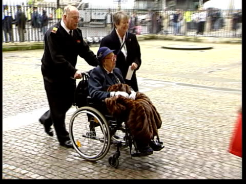 sir harry secombe memorial service; itn england: london: westminster abbey: friends of sir harry secombe towards as arriving for service entertainer... - thora hird stock videos & royalty-free footage