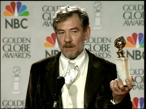 sir ian mckellen at the 1997 golden globe awards at the beverly hilton in beverly hills, california on january 19, 1997. - ian mckellen stock videos & royalty-free footage