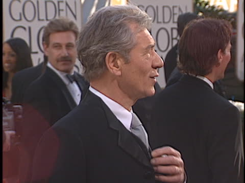 sir ian mckellen at the golden globes 2002 at beverly hills hotel. - ian mckellen stock videos & royalty-free footage