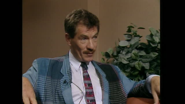sir ian mckellen in an interview in 1989 saying that although acting is really important, the achievements of his career are put into perspective... - transparent stock videos & royalty-free footage
