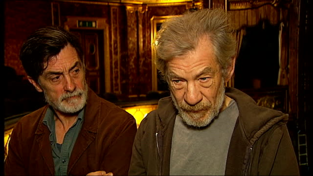 sir ian mckellen interview as sitting next to roger rees sot roger rees interview sot - ian mckellen stock videos and b-roll footage