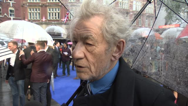 interview sir ian mckellen on his bromance with patrick stewart and having michael fassbender playing a younger him at 'xmen' premiere at odeon... - ian mckellen stock videos and b-roll footage