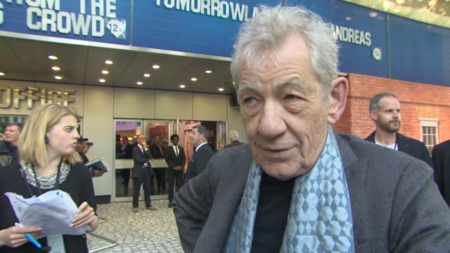 sir ian mckellen on what makes him sherlock holmes different, working on 'beauty and the beast' at mr holmes uk film premiere at odeon kensington on... - sherlock holmes stock videos & royalty-free footage