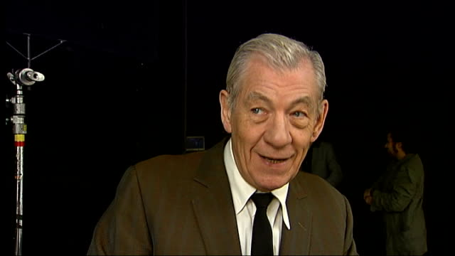 sir ian mckellen plays starring role in rock band the guillemots music video; int sir ian mckellen interview sot - on how he became involved in... - ian mckellen stock videos & royalty-free footage