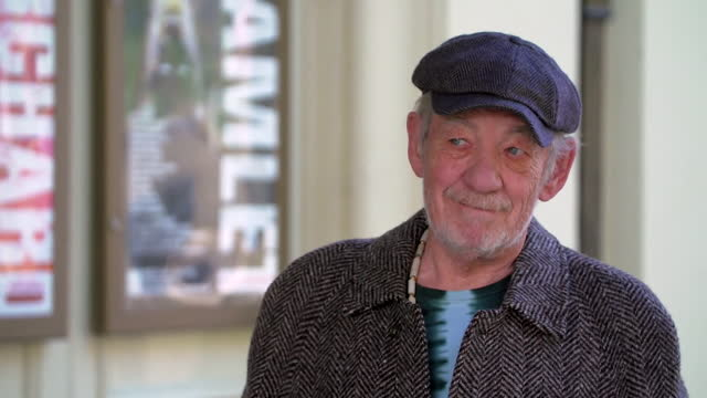 "sir ian mckellen saying ""if i can rake around and find the young man in me, hopefully it will be alright"" in regards to playing hamlet at 81 - fame stock videos & royalty-free footage"