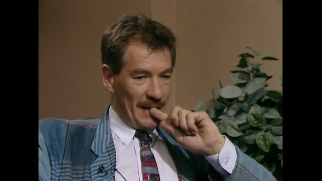 sir ian mckellen talks in a 1989 interview about the monetary aspect of his profession, saying 'it's the business side of show business which is of... - mature adult stock videos & royalty-free footage