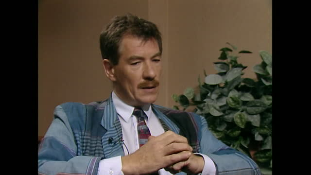 sir ian mckellen talks in an interview about aids, saying 'there should be nobody in this country or any country in the world now not practising... - part of a series stock videos & royalty-free footage