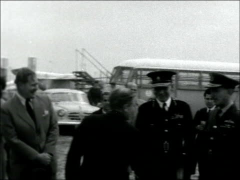 sir john harding returns / celebrations for release of archbishop makarios iii cyprus nicosia ms harding off plane various mss embraces wife greets... - john harding stock videos and b-roll footage