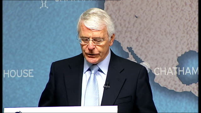 sir john major speech on the eu referendum government proposal england london chatham house int introduction and gvs of sir john major john major... - politics and government stock videos & royalty-free footage
