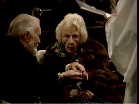 sir john mills renews wedding vows 2 shot sir john mills interviewed sot be all right so long as i don't burst into tears i find the whole thing... - kissing hand stock videos & royalty-free footage