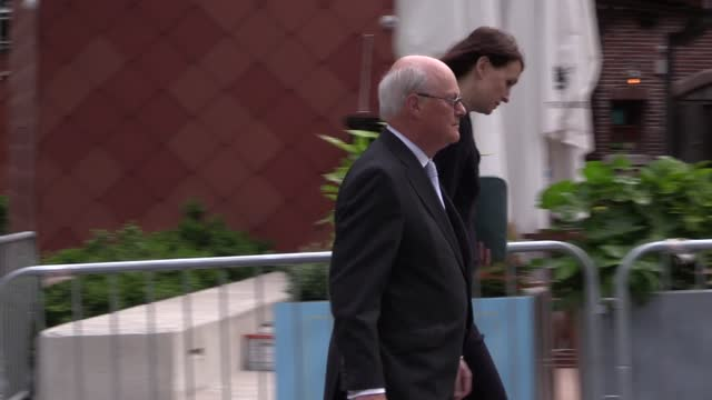sir john saunders, chair of the manchester arena inquiry, arrives at court ahead of the publication of a report examining security at venue where 22... - manchester arena stock videos & royalty-free footage