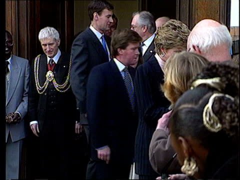 Sir John Stevens criticises Princess Diana bodyguard LIB Princess Diana along followed by Ken Wharfe CMS Wharfe behind Diana as she greets people...