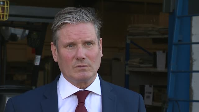 sir keir starmer and anneliese dodds launch jobs campaign; england: cambridgeshire: peterborough: ext sir keir starmer mp interview sot q: on why in... - learning stock videos & royalty-free footage