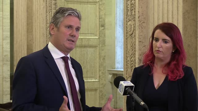 sir keir starmer and northern ireland shadow secretary louise haigh speak following a meeting with the five largest parties at stormont during two... - meeting stock videos & royalty-free footage