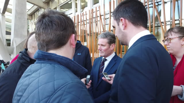 sir keir starmer mp, one of the leading contenders in the labour leadership contest, at the scottish parliament in the course of a visit to scotland,... - keir starmer stock videos & royalty-free footage