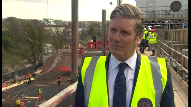 sir keir starmer visits construction site and interview; part 2 of 3 england: bristol: ext sir keir starmer mp interview sot q: marvin is obviously... - horizon stock videos & royalty-free footage