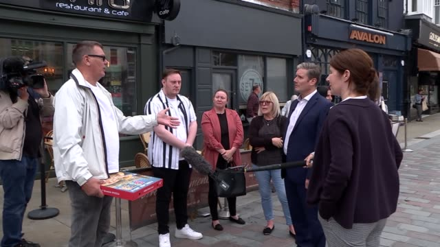 sir keir starmer visits darlington; england: county durham: darlington ext sir keir starmer mp interview with channel 4 news reporter as along... - keir starmer stock videos & royalty-free footage
