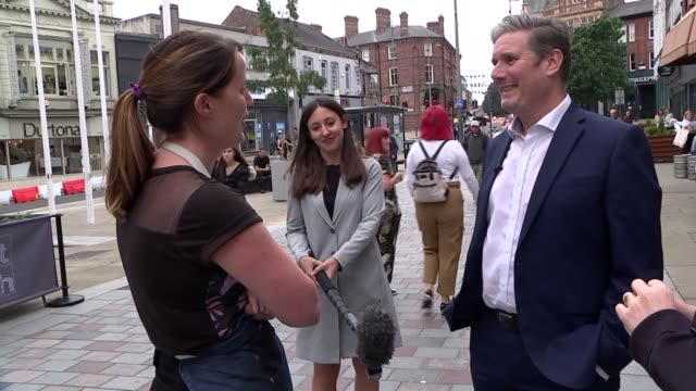 sir keir starmer visits darlington england county durham darlington ext sir keir starmer mp chatting with group of locals in town centre during... - darlington north east england stock videos & royalty-free footage
