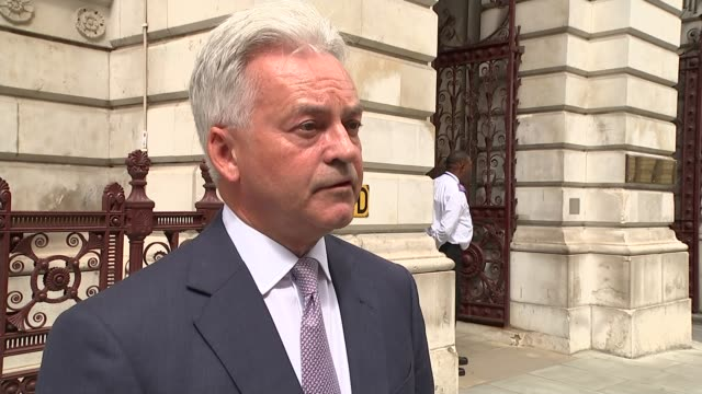sir kim darroch resigns as ambassador to the us england london westminster ext alan duncan mp interview sot on boris johnson's lack of support for... - alan duncan stock-videos und b-roll-filmmaterial