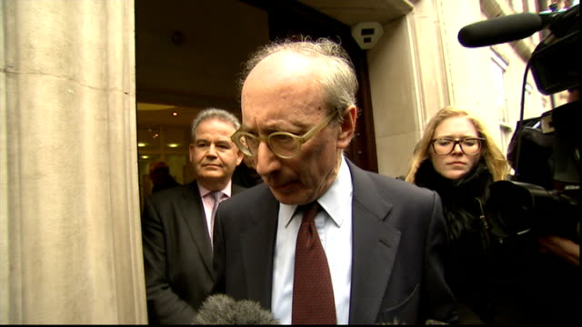 sir malcolm rifkind resigns over 'cash for access' row; rifkind towards from building to speak to press and press scrum gathered around rifkind sir... - major road video stock e b–roll