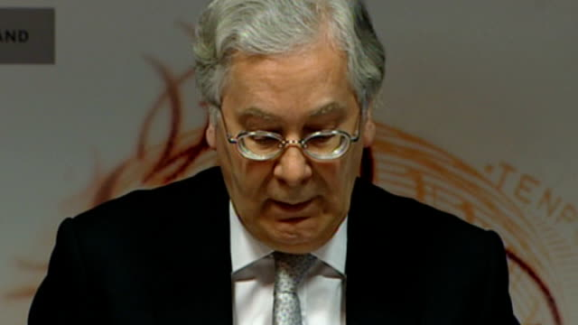 Sir Mervyn King steps down as Governor of Bank of England T14050811 / TX King press conference SOT The credit cycle has turned commodity prices are...