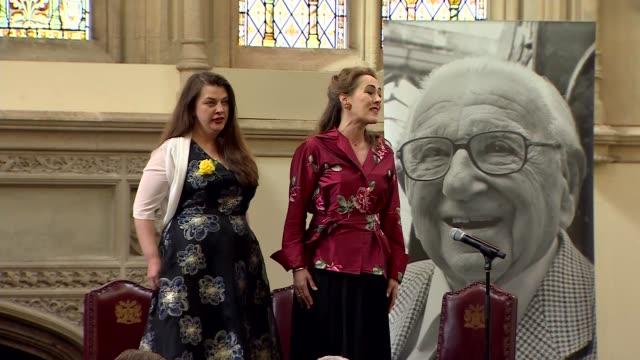 Sir Nicholas Winton memorial service Dubs speech SOT / Women performing song SOT / Esther Rantzen speech SOT / Rantzen inviting surviving...