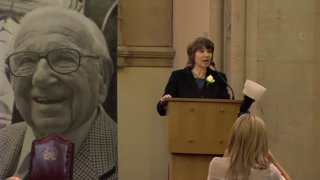 Sir Nicholas Winton memorial service ENGLAND London London's Guildhall INT Barbara Winton speechSOT / Esther Rantzen attending service / Theresa May...
