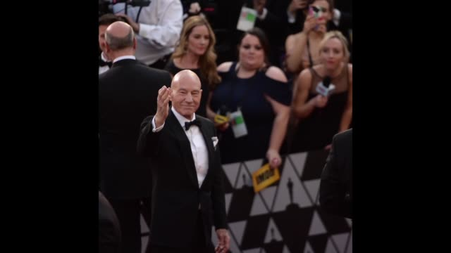 sir patrick stewart attends the 90th annual academy awards at hollywood highland center on march 4 2018 in hollywood california - 90th annual academy awards stock videos & royalty-free footage