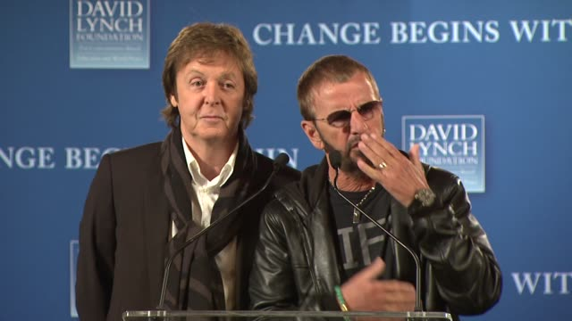 sir paul mccartney and ringo starr on their experiences with meditation at the david lynch foundation's 'change begins within' press conference at... - paul mccartney stock videos and b-roll footage