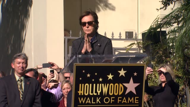 sir paul mccartney at paul mccartney honored with star on the hollywood walk of fame on 2/9/2012 in hollywood, ca. - paul mccartney stock videos & royalty-free footage