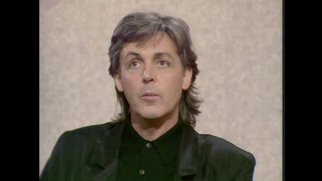 sir paul mccartney talks about the inspiration for his songs saying 'it's strange where they come from i couldn't begin to tell you really' - kunst, kultur und unterhaltung stock-videos und b-roll-filmmaterial