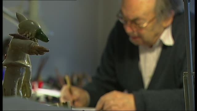 sir quentin blake launches house of illustration fundraising auction; r29121205 / **sir quentin blake interview overlaid sot** various shots of sir... - pen and ink stock videos & royalty-free footage