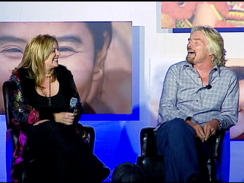 vídeos de stock, filmes e b-roll de sir richard branson on being a member of the mile high club on being speechless on a letter from a passenger and on going into space at the sara... - sara blakely