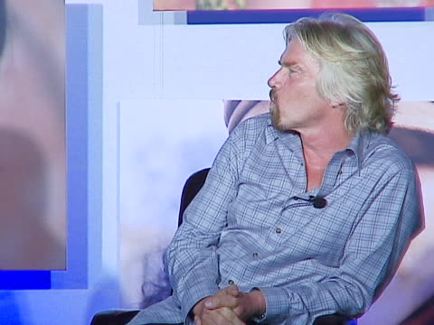 vídeos de stock, filmes e b-roll de sir richard branson on jane fonda on being circumcized at age 21 and on watching barbarella thereafter at the sir richard branson cohosts the sara... - sara blakely