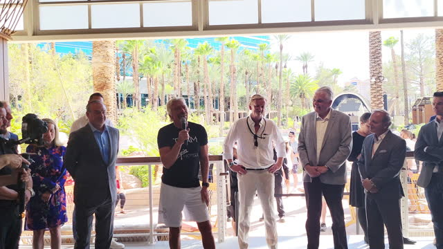 sir richard branson speaks about the effort that went into virgin hotels las vegas as he is flanked by hilton global head of curio and tapestry... - las vegas hilton stock-videos und b-roll-filmmaterial