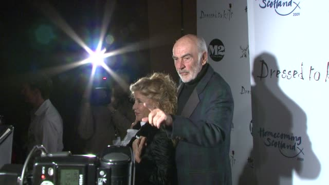 sir sean and lady connery at the 7th annual 'dressed to kilt' charity fashion show at new york ny - dressed to kilt stock videos & royalty-free footage