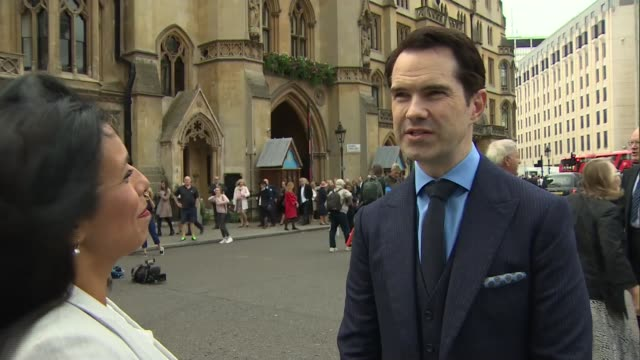 sir terry wogan memorial service: celebrity arrivals and interviews; england: london: westminster abbey: ext jimmy carr interview sot / chris tarrant... - terry wogan stock-videos und b-roll-filmmaterial