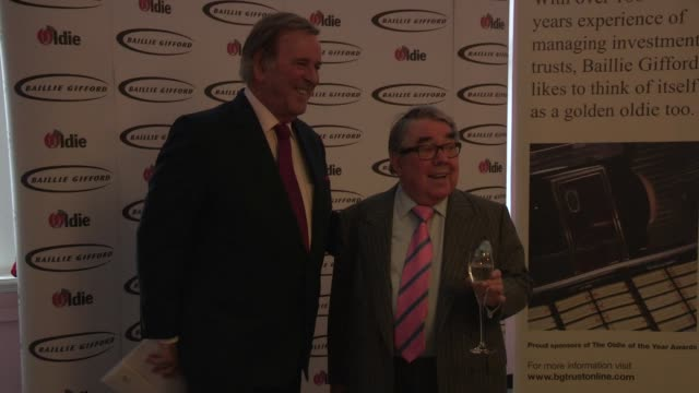 sir terry wogan; ronnie corbett - the oldie's at simpsons in the strand on february 12, 2013 in london, england - terry wogan stock-videos und b-roll-filmmaterial