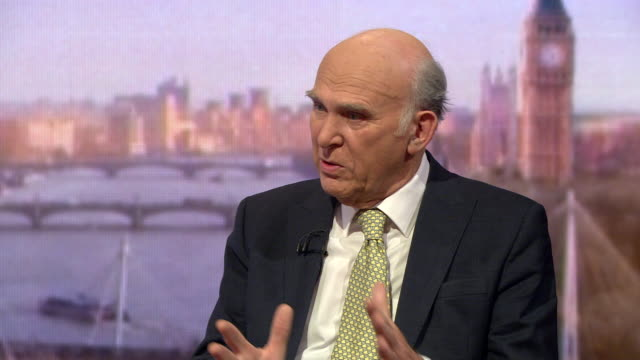sir vince cable liberal democrat leader speaking on the andrew marr show says parliament will take control of this process will insist we pursue the... - andrew marr stock videos & royalty-free footage