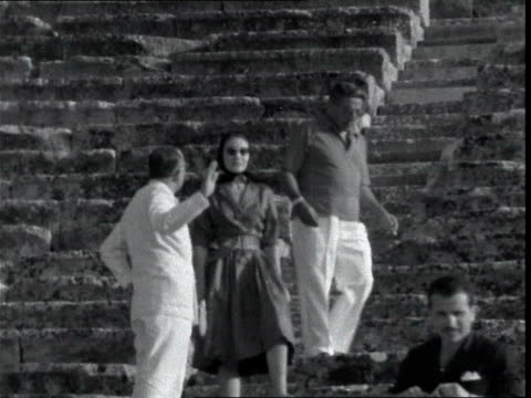 sir winston and lady churchill holiday in greece greece athens sir winston churchill and his wife lady clementine churchill seated in the epidaurus... - moglie video stock e b–roll