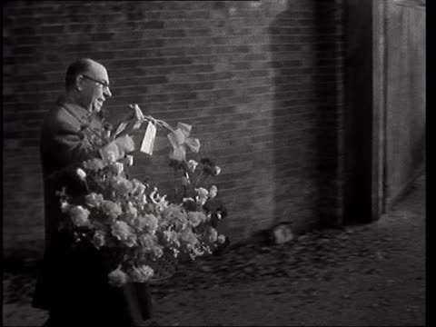 sir winston churchill celebrates 83rd birthday at chartwell ***also kent chartwell ms reginald bosanquet sof gv flowers delivered gv box of champagne... - postal worker stock videos & royalty-free footage