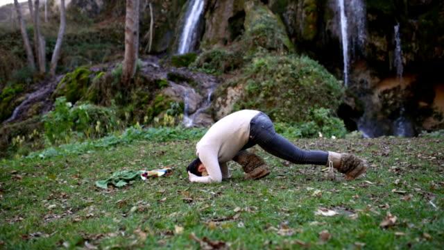 Sirsha-asana Exercises In Mountains